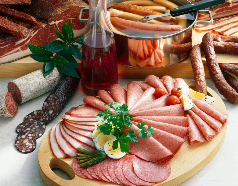 Still life with sausages, ham and bacon